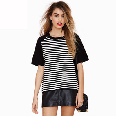Women-Short-Sleeve-White-Striped-Pattern-in-Front-Casual-Loose-Top-Clothes-Boy-Friend-Style-Girl